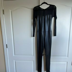 Pants - FAUX LEATHER AND SHEER LONG SLEEVE CAT SUIT SMALL